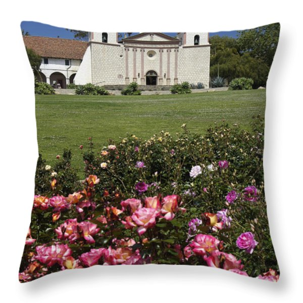 Mission Santa Barbara Throw Pillow by Michele Burgess