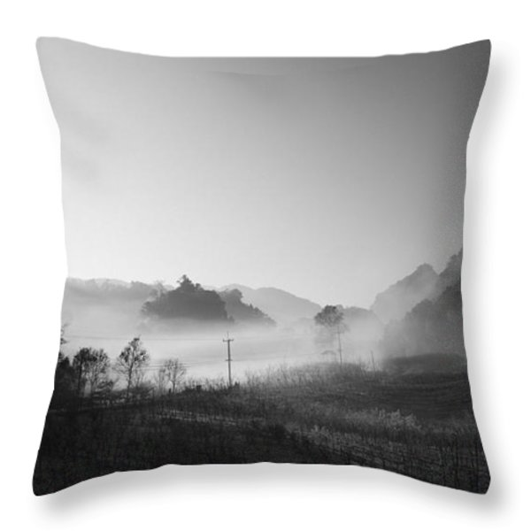 mist in the valley Throw Pillow by Setsiri Silapasuwanchai