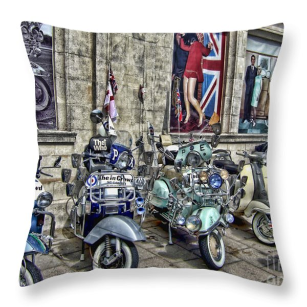 Mod scooters and 60s fashion Throw Pillow by Jasna Buncic