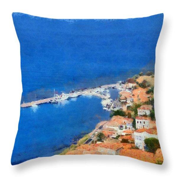 Molyvos Town Throw Pillow by George Atsametakis