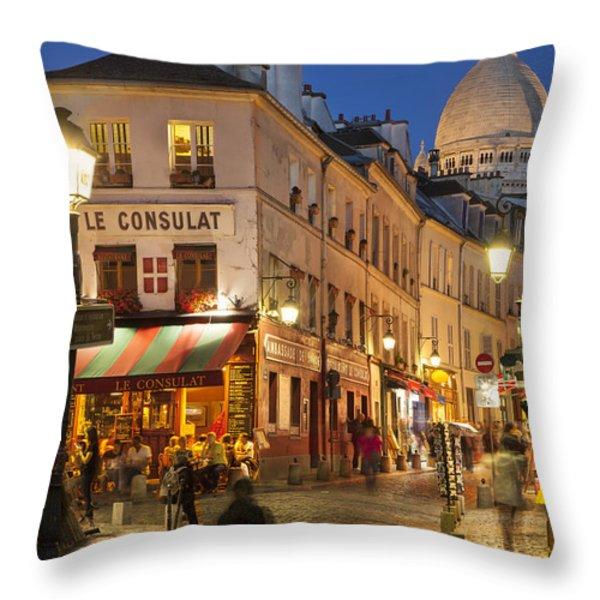 Montmartre Twilight Throw Pillow by Brian Jannsen