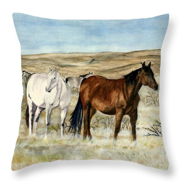 Nine Horses Throw Pillow by Melly Terpening