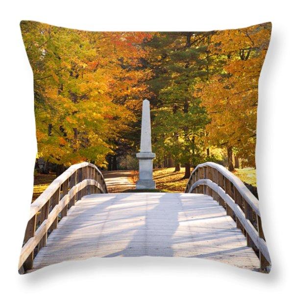 Old North Bridge Concord Throw Pillow by Brian Jannsen