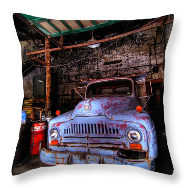 Old Pickup Truck Hdr Throw Pillow by Amy Cicconi
