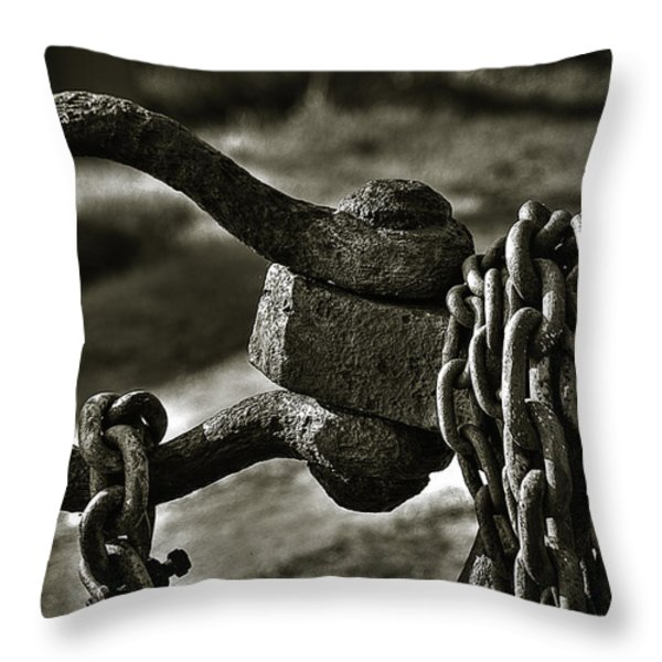 Old Rusty Anchor Throw Pillow by Erik Brede