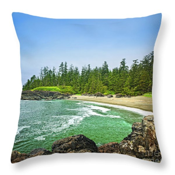 Pacific ocean coast on Vancouver Island Throw Pillow by Elena Elisseeva