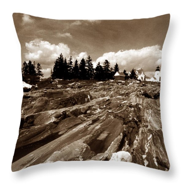 PEMAQUID ROCKS Throw Pillow by Skip Willits