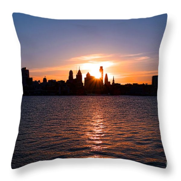 Philadelphia Sunset Throw Pillow by Olivier Le Queinec