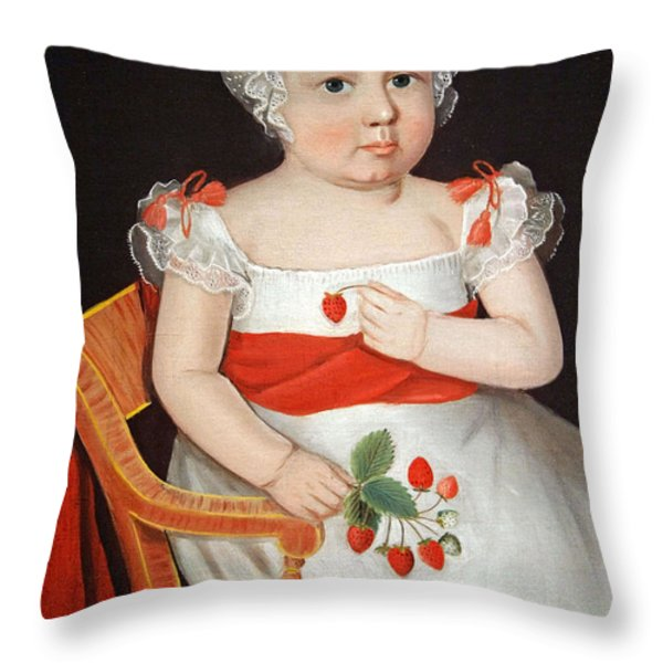 Phillips' The Strawberry Girl Throw Pillow by Cora Wandel