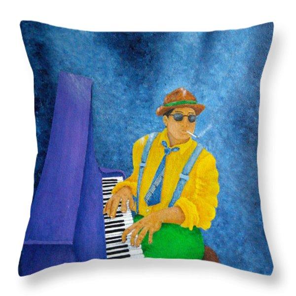 Piano Man Throw Pillow by Pamela Allegretto