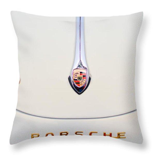 Porsche 1600 Hood Emblem Throw Pillow by Jill Reger