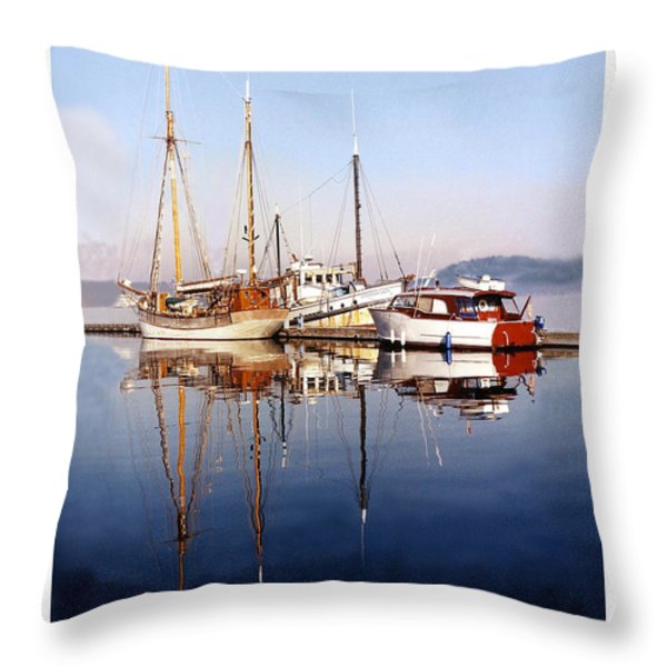 Reflections Port Orchard Marina Throw Pillow by Jack Pumphrey