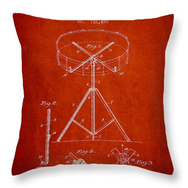 Portable Drum patent Drawing from 1903 - Red Throw Pillow by Aged Pixel
