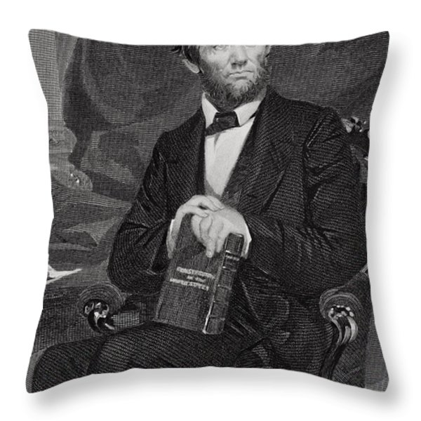 Portrait Of Abraham Lincoln Throw Pillow by Alonzo Chappel