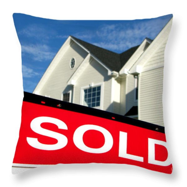 Real Estate Realtor Sold Sign And House For Sale Throw Pillow by Olivier Le Queinec