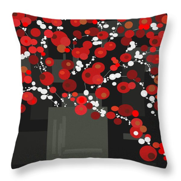 Red Flowers Throw Pillow by Val Arie