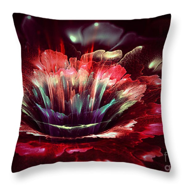 Red Fractal Flower Throw Pillow by Martin Capek