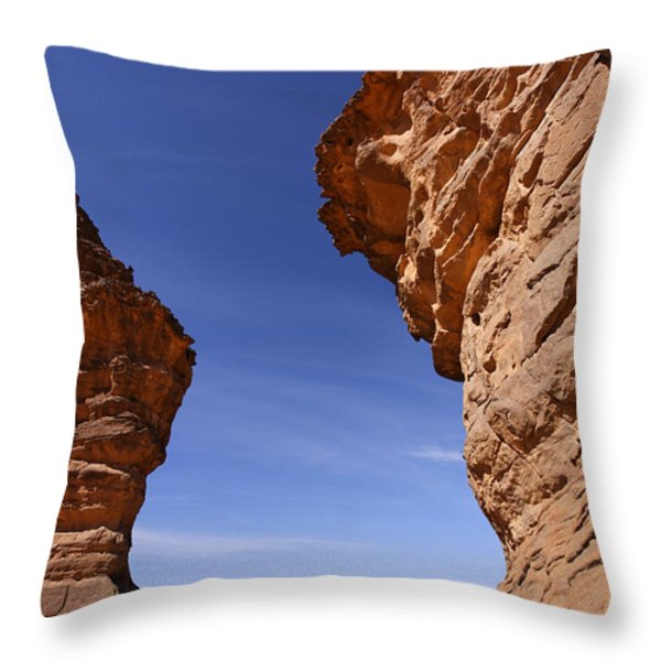 Rock Formations In The Akakus Mountains In The Sahara Desert Throw Pillow by Robert Preston