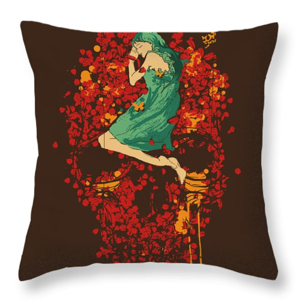 Roses are red but why you look so blue Throw Pillow by Budi Kwan