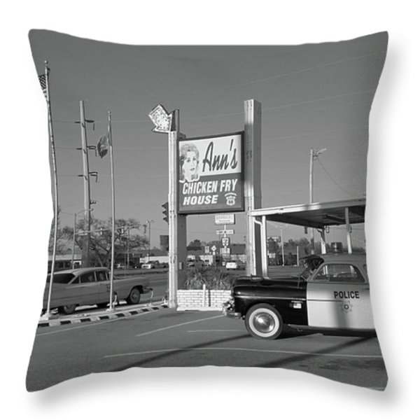 Route 66 - Anns Chicken Fry House Throw Pillow by Frank Romeo