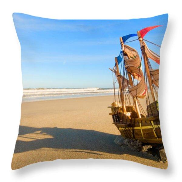 Ship Model On Summer Sunny Beach Throw Pillow by Michal Bednarek