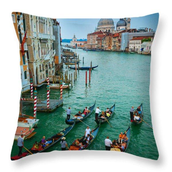 Six Gondolas Throw Pillow by Inge Johnsson