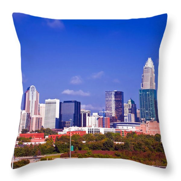 Skyline of uptown Charlotte North Carolina at night Throw Pillow by Alexandr Grichenko