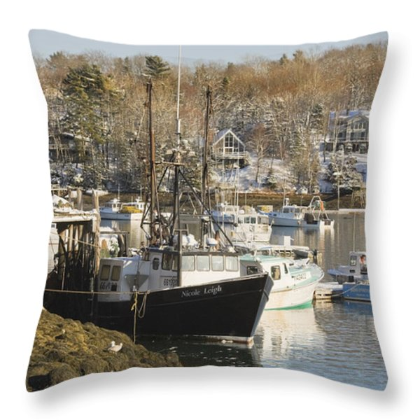 South Bristol and Fishing Boats on the Coast of Maine Throw Pillow by Keith Webber Jr
