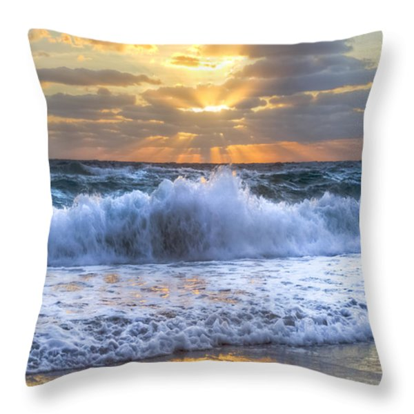Splash Sunrise Throw Pillow by Debra and Dave Vanderlaan