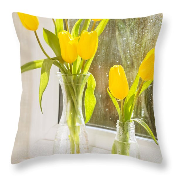Spring Tulips Throw Pillow by Amanda And Christopher Elwell