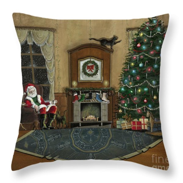 St. Nicholas Sitting In A Chair On Christmas Eve Throw Pillow by John Lyes