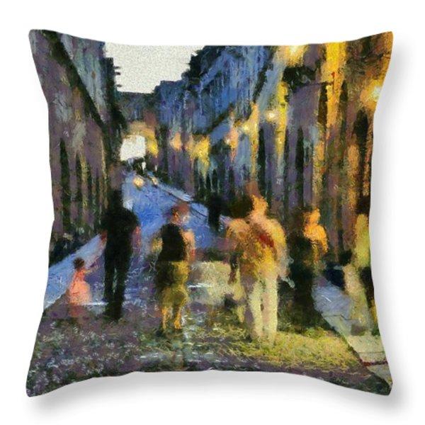 Street Of Knights Throw Pillow by George Atsametakis