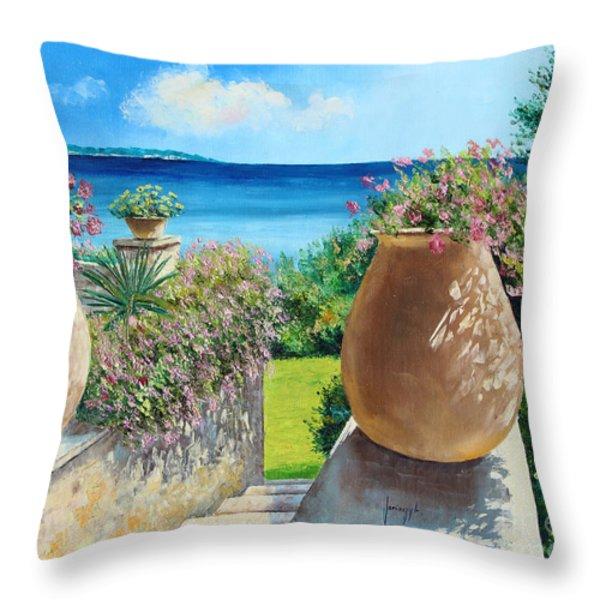 Sunny Terrace Throw Pillow by Jean-Marc Janiaczyk