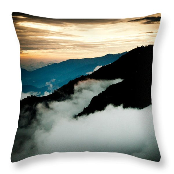Sunset Himalayas Mountain Nepal Panaramic view Throw Pillow by Raimond Klavins