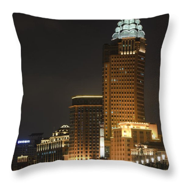 The Bund, Shanghai Throw Pillow by John Shaw