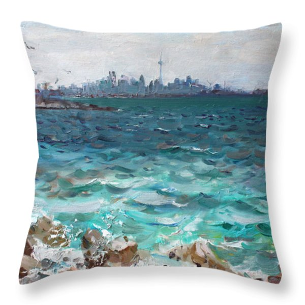 Toronto Skyline Throw Pillow by Ylli Haruni