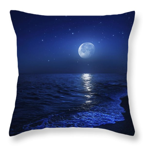Tranquil Ocean At Night Against Starry Throw Pillow by Evgeny Kuklev
