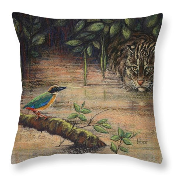 Treading Water Asian Fishing Cat Throw Pillow by Cynthia House