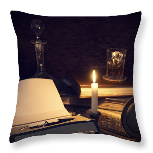 Vintage Typewriter Throw Pillow by Amanda And Christopher Elwell