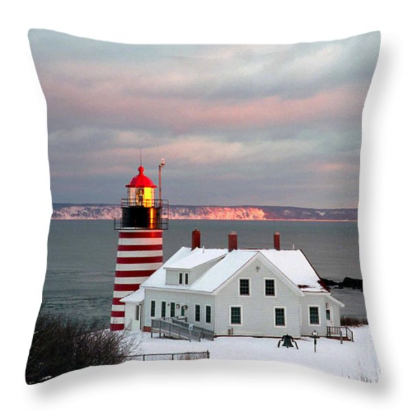 West Quoddy Head Lighthouse Throw Pillow by Alana Ranney