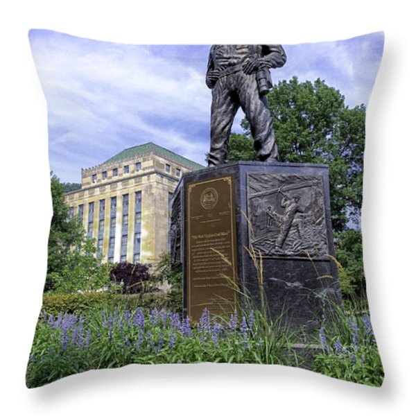 West Virginia Coal Miner Throw Pillow by Thomas R Fletcher