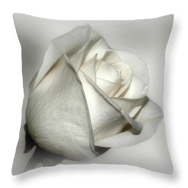 White Rose Throw Pillow by Sandy Keeton