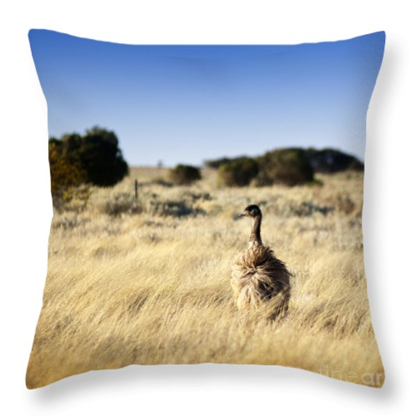 Wild Emu Throw Pillow by Tim Hester