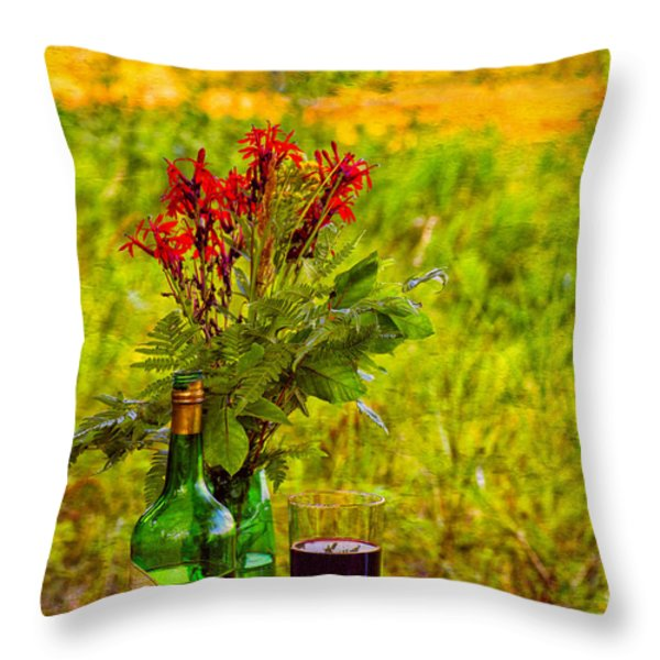 Wine And Flowers Throw Pillow by Les Palenik