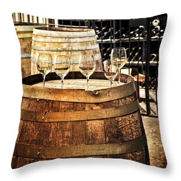 Wine  glasses and barrels Throw Pillow by Elena Elisseeva