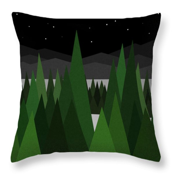 Winter Night Throw Pillow by Val Arie