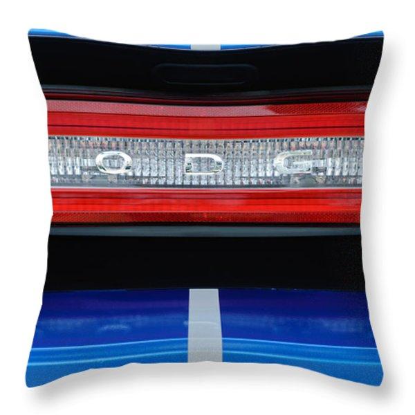 2011 Dodge Challenger RT Hemi Taillight Emblem Throw Pillow by Jill Reger