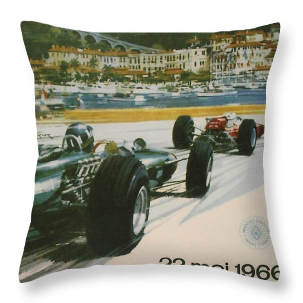 24th Monaco Grand Prix 1966 Throw Pillow by Nomad Art And  Design