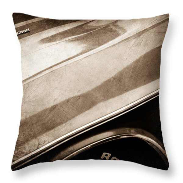 1970 Dodge Challenger Rt Convertible Emblems Throw Pillow by Jill Reger