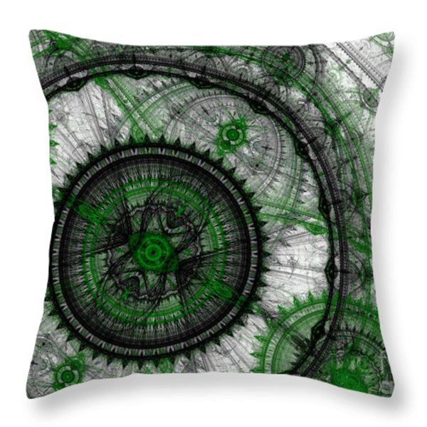 Abstract mechanical fractal Throw Pillow by Martin Capek